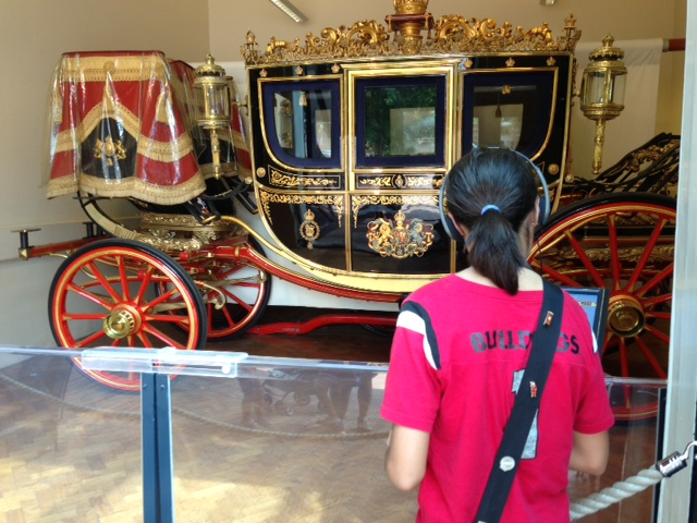 The royal carriages at the Royal Mews.